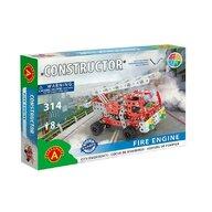 Alexander Toys - Set de constructie Vehicul Masina de pompieri , Constructor , 314 piese metalice