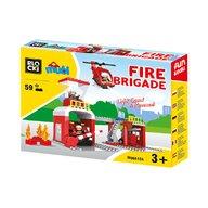 Blocki-Mubi - Set cuburi constructie mari Mubi Brigada de pompieri, 59 piese, Blocki
