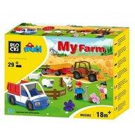 Blocki-Mubi - Set cuburi constructie mari Mubi Ferma+camioneta, 29 piese, Blocki