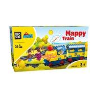 Blocki-Mubi - Set cuburi constructie mari Mubi Trenuletul vesel, 36 piese, Blocki
