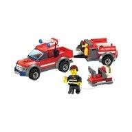 Blocki - Set cuburi constructie MyFireBrigade Automobil de pompieri cu remorca, 143 piese,
