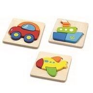 Commotion - Puzzle din lemn Mijloace de Transport 3 in 1 Puzzle Copii, piese12