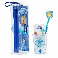 Chicco - Set de igiena orala , albastru, 36luni+ (pasta dinti, periuta, pahar, etui)