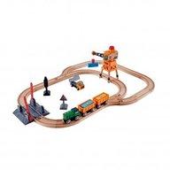 Hape - Set de trenuri cu macara de marfa