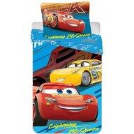 SunCity - Lenjerie 2 piese Lightning McQueen 60x40 cm, 135x100 cm Disney Cars din Bumbac, Albastru