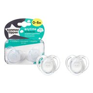 Tommee Tippee - Set suzete ortodontice Anytime, 0-6 luni, 2 buc, Transparent