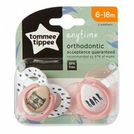 Tommee Tippee - Set suzete ortodontice Anytime, 6-18 luni, 2 buc, Tigrut