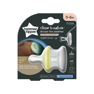 Tommee Tippee - Set suzete Breast like soother , Closer to Nature , 0-6 luni, 2 buc, De noapte din Silicon, Alb/Galben