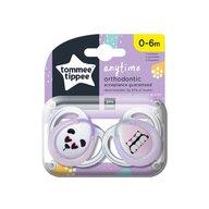 Tommee Tippee - Set suzete Ursuleti Panda 0-6 luni, 2 buc, Ortodontice, Anytime din Silicon, Alb/Roz