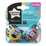Tommee Tippee - Suzete ortodontice Fun, 18-36 luni, 2 buc, Zebra/Elefant