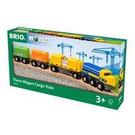BRIO - Tren din lemn Marfa , Cu 3 vagoane