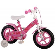 Volare - Bicicleta copii fete 12 inch Flowerie cu roti ajutatoare si cosulet Roz