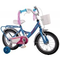 Volare - Bicicleta copii fetite 14 inch Bike cu roti ajutatoare cosulet portbagaj metal si pompoane la ghidon