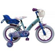 Volare - Bicicleta pentru fete 14 inch cu scaun pentru papusi roti ajutatoare si cosulet Frozen