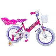 Volare - Bicicleta pentru fete 14 inch cu scaun pentru papusi roti ajutatoare si cosulet Minnie Mouse