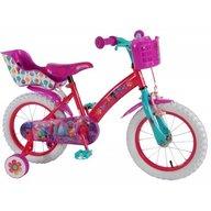 Volare - Bicicleta pentru fete 14 inch cu scaun pentru papusi roti ajutatoare si cosulet Trolls
