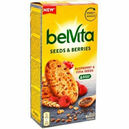 Biscuiti cu zmeura si chia  Belvita 270g