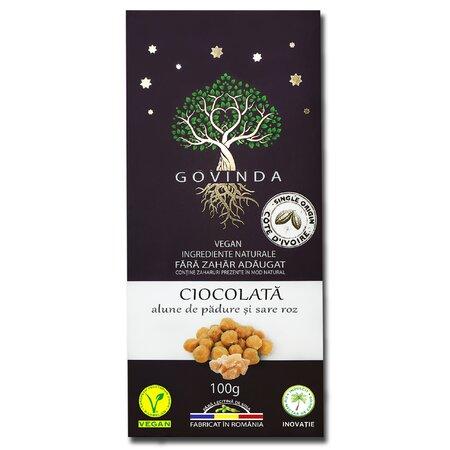 Ciocolata vegana cu alune de padure si sare Ambrozia 100g