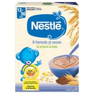 Cereale Nestle 8 Cereale si cacao, 250g, 12 luni+