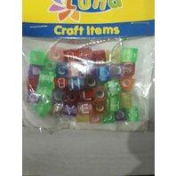 Art & Craft Litere colorate si snur din nylon, 30 cm alfabet patrat