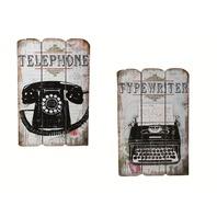 Canvas print,Old Style Telefon si Masina de scris, rama de lemn, 38 x 25 cm