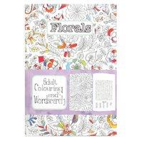 Carte de colorat pt adulti A5 Flori si cuvinte incrucisate