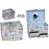 Caseta Anekke pentru bijuterii, muzicala, albastra 19 x 14.5 x 12 cm