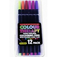 COLOUR THERAPY- Markere extra fine de colorat, 12 culori