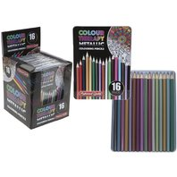 Creioane in cutie metalica pro metalice , 16 culori