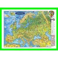 Harta Europei pentru copii (proiectie 3D) in germana 600x470mm