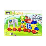LUNA BLOCKS Trenul cu elefant,  21x30.5x8cm, 31piese