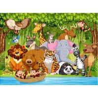 PUZZLE de colorat,  100 piese 49X36CM ANIMALE