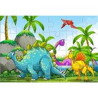 PUZZLE de colorat 41X28,  24 piese, 3 pagini de colorat DINOZAURI