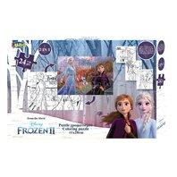 PUZZLE de colorat cu 2 fete, 41X28cm, 24 piese 3 pagini de colorat, FROZEN2