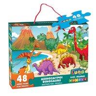 PUZZLE de podea,  48 piese, 90X60CM Dinozauri, LUNA