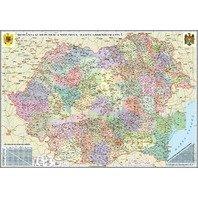 Romania si Republica Moldova. Harta administrativa (proiectie 3D) 1000x700mm
