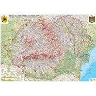 Romania si Republica Moldova. Harta fizica, administrativa si a substantelor minerale utile (1400x1000 mm)