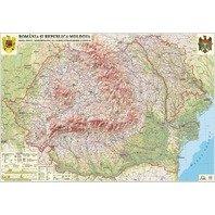 Romania si Republica Moldova. Harta fizica si administrativa (proiectie 3D) 600x470mm