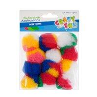 Set creativ - Aplicatii decorative Pom Pom multicolore, 12buc