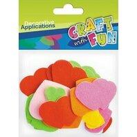 Set creativ - Aplicatii  inimioare textile colorate