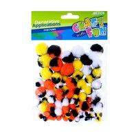 Set creativ - Aplicatii sferice Pom Pom colorate 80buc