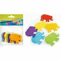 Set creativ - Aplicatii textile in forma de elefanti colorate