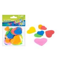 Set creativ - Aplicatii textile in forma de inimioare colorate EVA