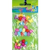 Set creativ - Margele colorate din plastic mix de inimioare, pietricele si fluturasi