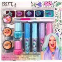 Set de machiaj cu sclipici pentru fetite. Contine 4 culori diferte luciu de buza, fard 5 culori, lac de unghii 2 culori