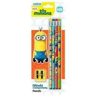 Set Minions - 4 creioane si ascutitoare