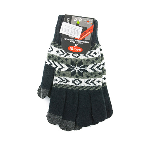 Patterned wool gloves R207