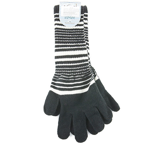 Long acrylic gloves, with stripes R98D