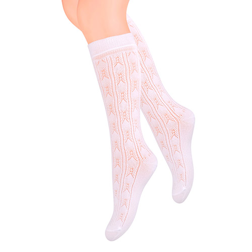 ¾ jacquard socks for girls, white S021