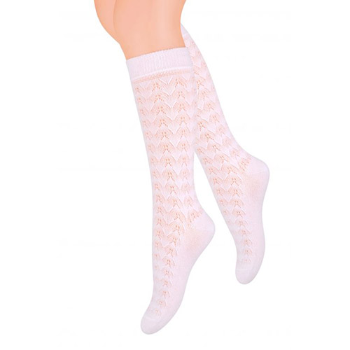 3/4 JAQUARD SOCKS FOR GIRLS, S021 WHITE/BBC